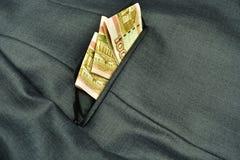 Billets de banque de rouble dans la poche Photographie stock libre de droits