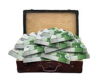 Billets de banque de valise de vintage pleins euro d'isolement Images libres de droits