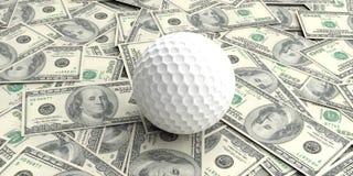 billets de banque des dollars de la boule de golf du rendu 3d on100 Image stock