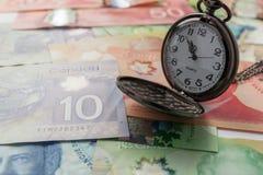 Billets de banque de devise canadienne : Dollar Les factures ont écarté et variati image libre de droits