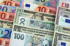 Billets de banque de différents pays photographie stock