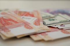 Billets de banque dollar, euro, rouble de banque Images libres de droits
