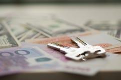 Billets de banque dollar, euro, rouble de banque Photos stock