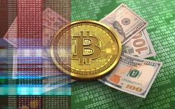 billets de banque du bitcoin 3d Photo stock