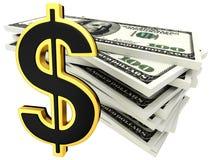 billets de banque du dollar 3d et signe d'or de dollar Photo libre de droits