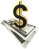 billets de banque du dollar 3d et signe d'or de dollar Photos stock