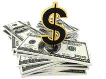 billets de banque du dollar 3d et signe d'or de dollar Images stock