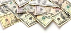 Billets de banque du dollar d'isolement au-dessus du blanc Images libres de droits
