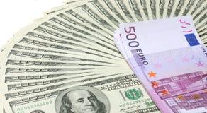 Billets de banque du dollar et d'euro Photo stock