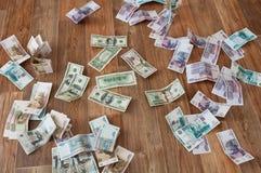 Billets de banque du dollar et de rouble Photos stock