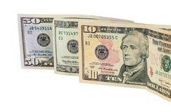 Billets de banque du dollar sur le fond blanc Photos libres de droits