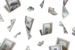 Billets de banque du dollar volant avec la profondeur du champ Images libres de droits