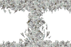 Billets de banque du dollar volant et tombant vers le bas dans la tornade Photo stock