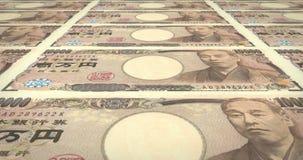 Billets de banque du roulement japonais de Yens de dix-millièmes sur l'écran, argent d'argent liquide, boucle banque de vidéos