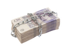 Billets de banque enchaînés Images stock