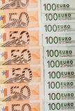 Billets de banque 50 et euro 100 Photos stock