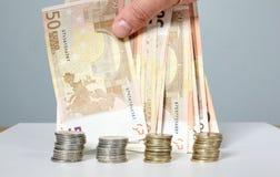Billets de banque et pièces de monnaie Argent Photo libre de droits