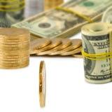 billets de banque et pièces de monnaie d'image en gros plan Image libre de droits