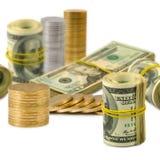 billets de banque et pièces de monnaie d'image en gros plan Photographie stock