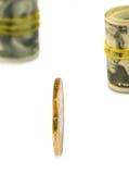 billets de banque et pièces de monnaie d'image en gros plan Images stock