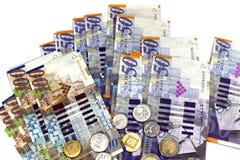 Billets de banque et pièces de monnaie de l'état d'Israël Photo stock