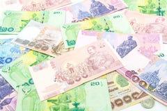 Billets de banque et pièces de monnaie de la Thaïlande Photographie stock