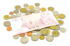 Billets de banque et pièces de monnaie de la Thaïlande Photographie stock libre de droits