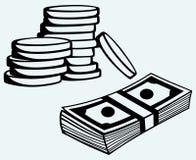 Billets de banque et pièces de monnaie des dollars de pile illustration stock
