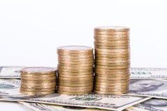 Billets de banque et pièces de monnaie du dollar Photographie stock
