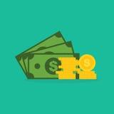 Billets de banque et pièces de monnaie du dollar Photo stock