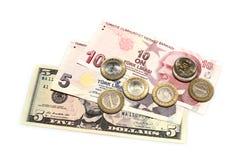 Billets de banque et pièces de monnaie turcs Photos stock