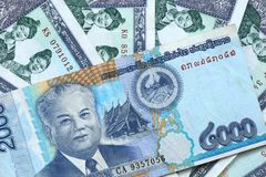 Billets de banque de kip d'argent du Laos Photo libre de droits
