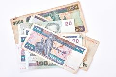 Billets de banque de kyat de Myanmar sur le fond blanc Photo stock