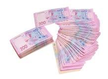 Billets de banque modernes de hryvnia ukrainien sur un fond clair Images stock