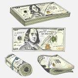 Billets de banque ou Américain détaillés Franklin Green de devise 100 dollars ou argents liquides et pièces de monnaie gravé tiré Image libre de droits