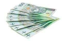 Billets de banque polonais de 100 PLN Images stock