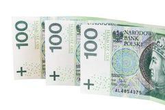 Billets de banque polonais de 100 PLN Image libre de droits