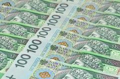 Billets de banque polonais s'étendant dans une ligne Image libre de droits