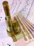 Billets de banque russes et cours des actions d'actions image stock