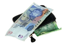 Billets de banque sud-africains avec le portefeuille en cuir Photo stock