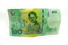20 billets de banque thaïlandais de baht Billets de banque de devise utilisés dans les lois de T images libres de droits
