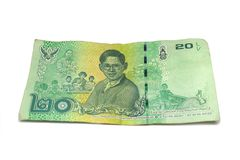20 billets de banque thaïlandais de baht Billets de banque de devise utilisés dans les lois de T photo libre de droits