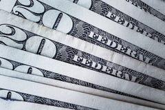 Billets de banque 20 USD comptant le fond de pile respectivement, Amérique Images libres de droits