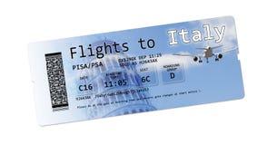 Billets de carte d'embarquement de ligne aérienne au ` de l'Italie de ` d'isolement sur le blanc Image libre de droits