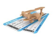 Billets de carte d'embarquement de ligne aérienne avec Toy Airplane Photos stock