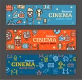 Billets de carte de bannière de cinéma réglés Vecteur Photos stock