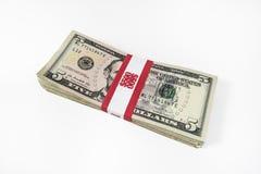 Billets de cinq dollars avec la courroie de devise image stock