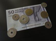 Billets de couronne danoise et monnaie, Danemark photo libre de droits