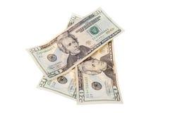 Billets de vingt dollars d'isolement sur l'Américain blanc Photo stock