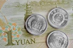 Billets et monnaie chinois Photo stock